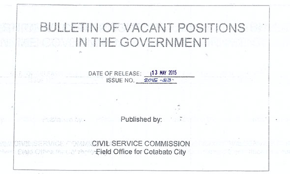 Bulletin of Vacant Positions as of May 13, 2015